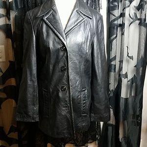 Winlit Black leather coat